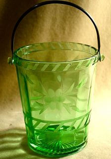 Green Depression Glass Panel Optic Wine Ice Bucket Cut Flowers