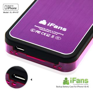 Ifans Ultra Slim Brushed Aluminum Battery Case Charger for iPhone4 4S