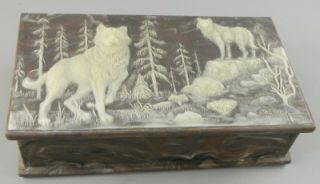Incolay Stone Trinket Box Wolves Wolf Sardonyx Brown