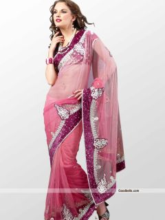 Indian Bollywood Designer Bridal Pink Net Saree