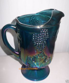 Blue Carnival Glass Pitcher Indiana Glass Harvest Grape