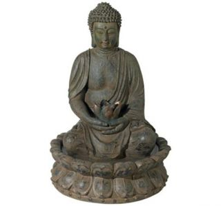Meditating Buddha Indoor Outdoor Water Fountain Light