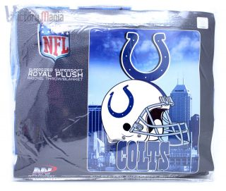 Indianapolis Colts Twin Plush Blanket NFL Helmet 60x80