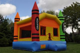 Commercial Inflatable Crayon Bounce House Moonwalk