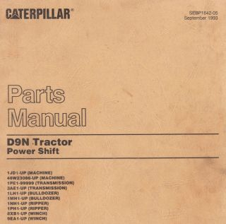 CAT 1JD Up Caterpillar D9N Dozer Tractor Parts Manual Book Sept 1998