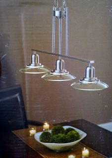 Modern Contemporary Island Pendant Light Brushed Nickel Kitchen Glass