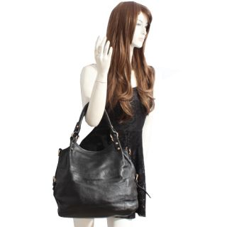 Genuine Italian Leather Black Handbags, Purse Hobo Bag, Satchel, Tote