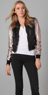 Maison Scotch Metallic Sleeve Leather Jacket