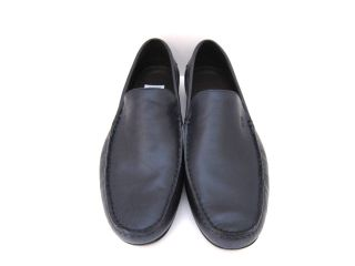 Hugo Boss Monsor Mens Soft Dark Blue Leather Loafers Shoes 11 5 EU 44