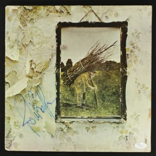 John Paul Jones Signed LED Zeppelin IV Zoso Album Cover JSA COA