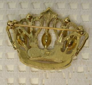 Signed Avon for K J L KJL Kenneth Jay Lane Rhinestone Crown Brooch Pin
