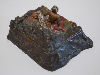 Antique Austrian Bronze Cold Painted Harem Girl Cigarette Box