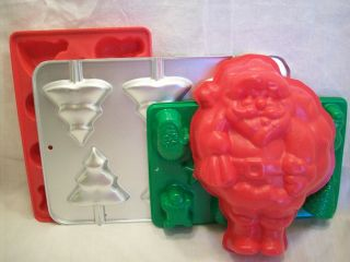 Christmas Tree Lollipop Pan 1997 Jello Santa Jiggler Molds Candy