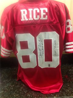 Jerry Rice Signed 49ers Red Throwback Jersey w/FLASH 80 Inscrip (RICE