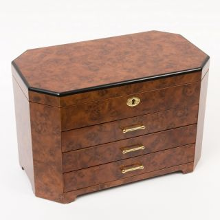 Handcrafted Burlwood Wooden Jewelry Box Chest Storage Armoire Drawers