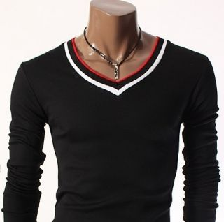 Mens Casual V Neck Slim T Shirt Black R2VT06