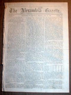 Virginia Civil War Newspaper Confederate Gen Joseph Johnston