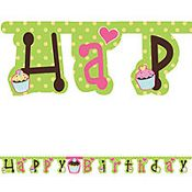 CUPCAKE Happy Birthday Jointed BANNER Party Decorations Supplies