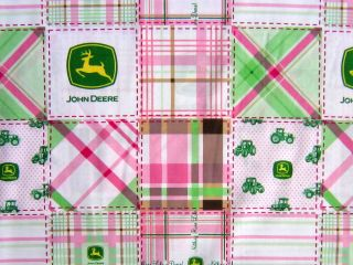 JOHN DEERE MADRAS PINK PASTEL PLAID PATCH BLOCK COTTON FABRIC SPRINGS