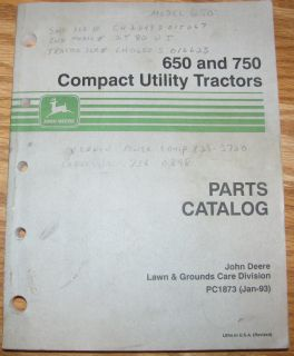 John Deere 650 & 750 Compact Utility Tractor Parts Catalog Manual Book