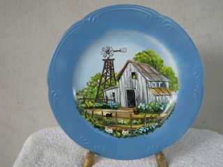 Handpainted Plate Grandpa's Barn Windmill Signed by Janice Palmer