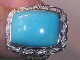 14k Solid White Gold Large Turquoise Diamond Ring by John Laura Ramsey
