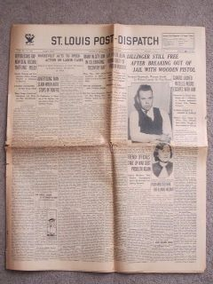 John Dillinger 1934 St Louis Newspaper Escapes Indiana Jail with Wooden Pistol