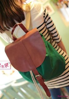 Cute Girls Backpack Bag Lady Satchel Sling New School Green Canvas Light Casual