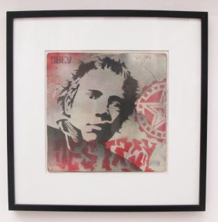 Shepard Fairey Obey Johnny Rotten Destroy Spray Paint Stencil Album Cover 2003