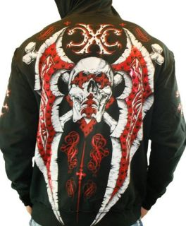 Xtreme Couture MMA Typhoon Red Foil Skull Black Mens Hoodie Jacket XL