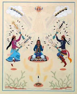 "Harrison Begay Navajo Native American ""Feather Dance"" Gouache"