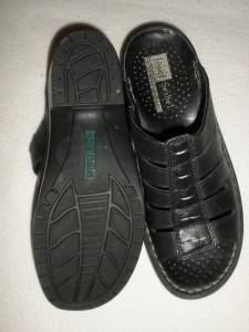 JOSEF SEIBEL Black Leather Slides Sandals Shoes Comfort 37 6 6 5