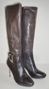 Calvin Klein Joyce 9 M Dark Brown Leather Knee High Boots Heels Womens Shoes