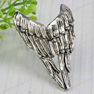 1PC Tibetan Silver Angel Wings Finger Ring Adjustable US 8