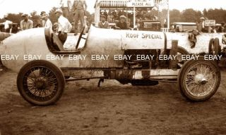 Old 1900s Racing Track Roadster Race Car Driver Roof Special Photo