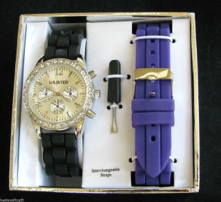 Unlisted Interchangable Black Purple Silicon Bands Silver Dial Watch