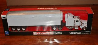 New Ray Kenworth W900 Tractor and Boxed Trailer Toy Truck 1 43 Scale