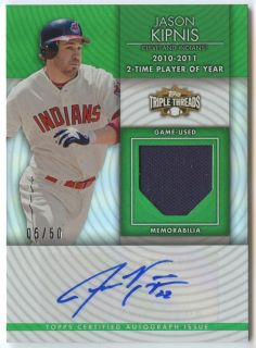 Jason Kipnis 2012 Topps Triple Threads Indians Jersey Auto 50