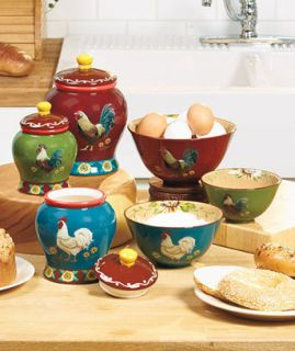 Kitchen Rooster colorful Canister set Decor Set Large Medium small