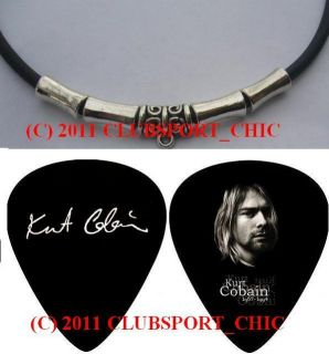Kurt Cobain Nirvana Rip Signed Guitar Pick Necklace