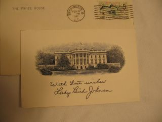1967 US First Lady  Lady Bird Johnson White House Thank You Card