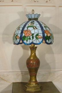 Antique Vintage Brass Table Lamp w Stained Glass Shade