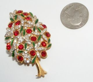 Vintage Sphinx Rhinestone Christmas Tree BROOCH Pin costume jewelry