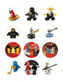 LEGO ninjago Edible Cupcake Cookie Toppers Image Birthday Decorations