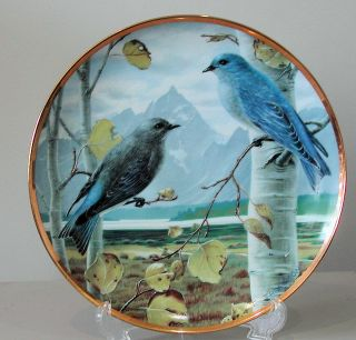 Mountain Bluebirds Linda Thompson Signed Blue Bird Plate 1985 Song