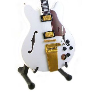 Miniature Guitar Alex Lifeson Gibson ES 355 Alpine White Hollow Free