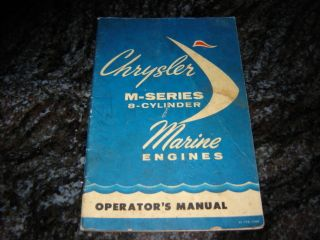 Original 1962 Chrysler M Series 8 Cylinder Marine Boat Engine Operator