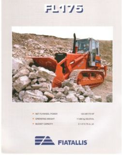 Fiat Allis FL175 Crawler Loader Specs Sales Literature