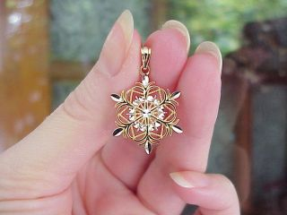 10K Yellow White Gold Diamond Cut Snowflake Reversible Charm Pendant