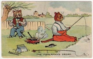 Louis Wain Artwork Postcard of Dressed Cats Fishing and Cooking Over